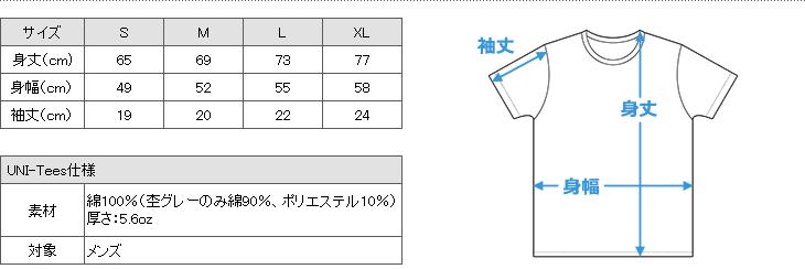 UNI-Teesサイズ表 COLLEGE SERIES